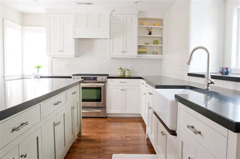 for white kitchen cabinets l shaped used backsplash gray shaker kitchen cabinets with white subway tile