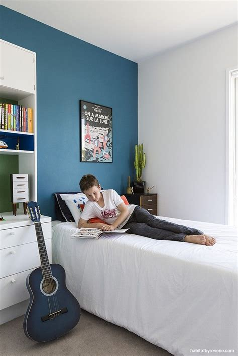 blue paint colors for boys bedrooms for the boy s bedroom a feature wall in resene blumine a