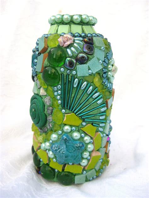 Tall Green Vase Frances Green Fairy Vase Green Swirl Mosaic
