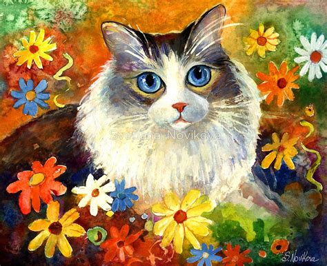 cat painting quot whimsical cat painting in flowers svetlana novikova quot by