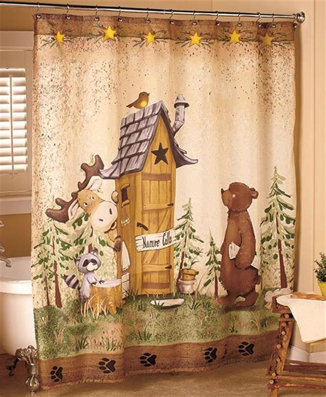 Cabin Shower Curtains Nature Calls Outhouse Moose Rustic Cabin Lodge Bathroom Shower Curtain Ebay