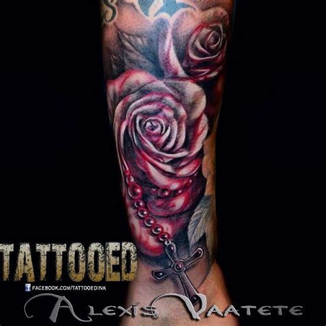 tattoo of us last night quot did a little blood rose and rosary combo last night