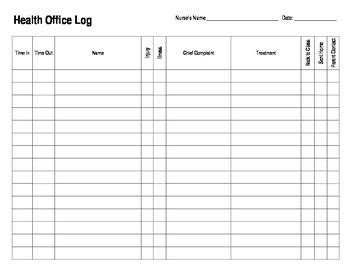 Health Office Log For School Nurse By Frontdesk Studio Tpt Home Health Care Daily Log Template