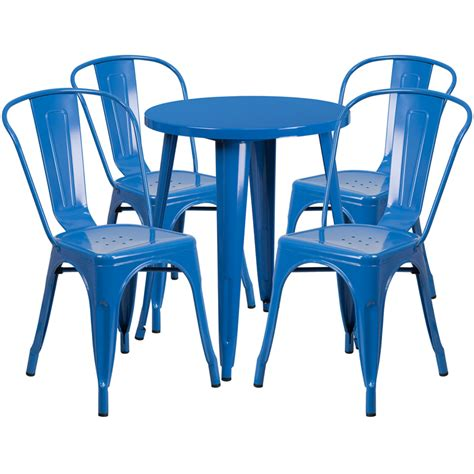 blue outdoor table and chairs 24 blue metal indoor outdoor table set with 4 cafe