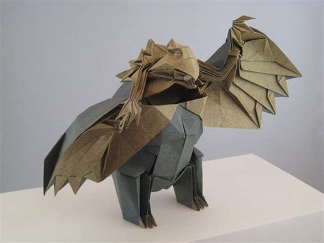 Joseph Wu Origami - owlbear standing this is a reimagining
