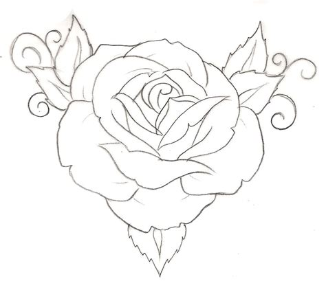 how to draw a traditional rose tattoo collection of 25 outline