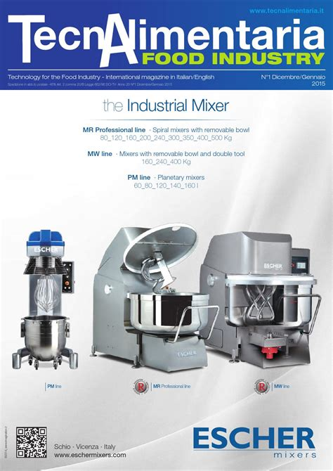 Vicenza Stand Mixer Vsm100 tecnalimentaria food industry dicembre gennaio december january 2015 by editrice edf trend srl