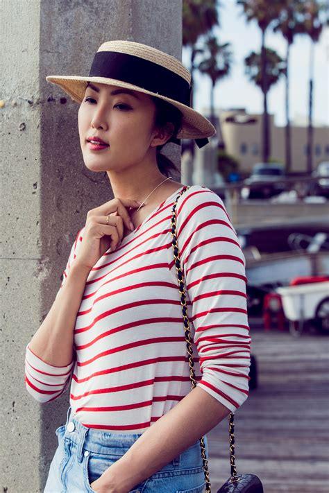 striped top denim skirt the chriselle factor