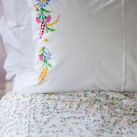 set of 2 floral embroidered pillowcases lulu and nat