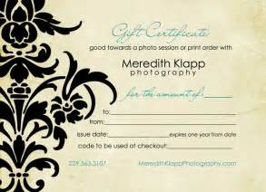 Gift Certificate Template For Photographers by Photography Gift Certificatesgift Certificate For Free
