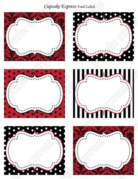 Items similar to diy red and black victorian damask anniversary printable food lables damask
