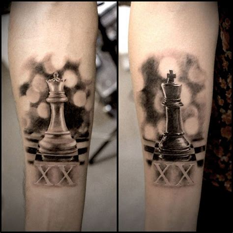 queen chess piece tattoo realistic king couples chess pieces best