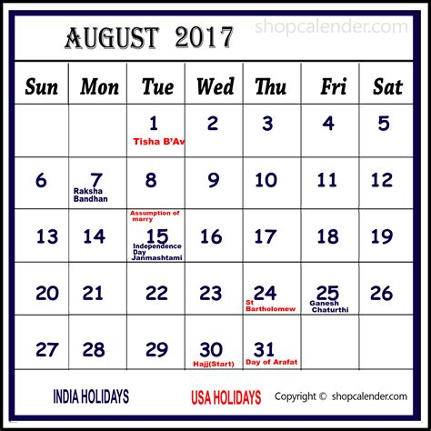 august 2017 calendar with holidays blank free calendar