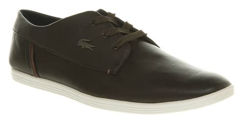 mens lacoste aylmer oxford brown leather casual shoes