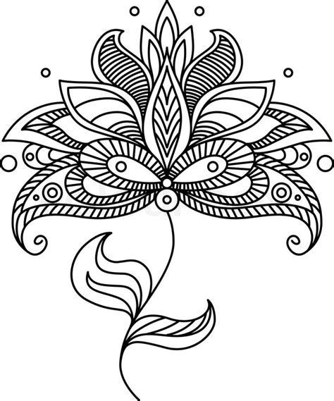 paisley line drawing ornate floral design element with a