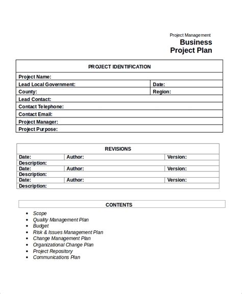 business project template project plan template 10 free word pdf document downloads free premium templates