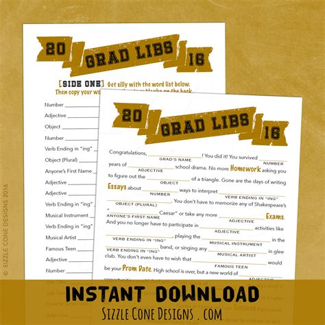 printable games for high school grad libs high school graduation party madlib game etsy