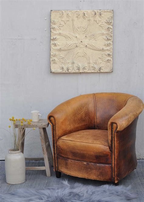 vintage worn french leather club chair  arms home