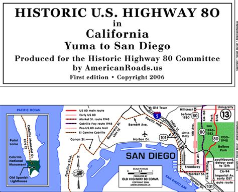 map usa highway 80 historic highway 80 map san diego bay sd usa mappery