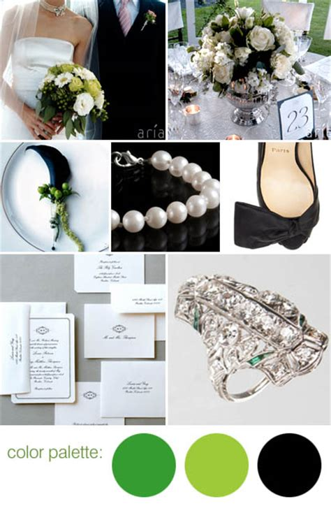 black white and green wedding color palettes for