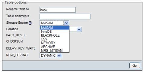 The Storage Engine For The Table Doesn T Support Repair by Changing Table Attributes Mastering Phpmyadmin 3 3 X For