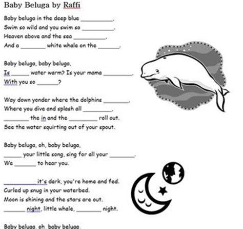 printable lyrics baby beluga baby beluga by raffi song cloze fill in the blank