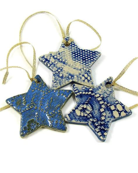 3 ceramic ornaments clay handmade stoneware