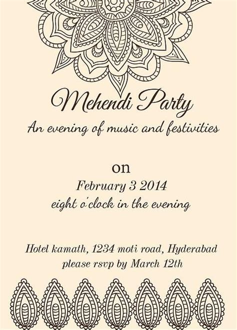 mehndi card template mehndi invitation wording search graphic