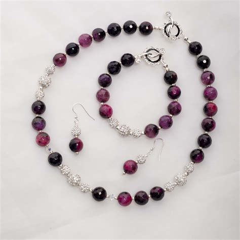 Lola ? Purple Agate with Rhinestone Bead with Sterling Silver Necklace, Bracelet & Earrings Set