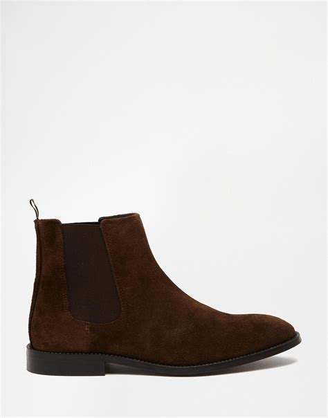 chelsea suede boots mens asos chelsea boots in suede in brown for lyst