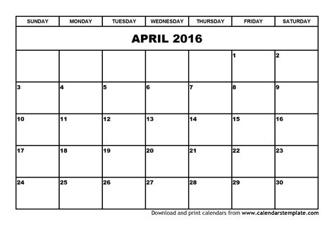 april 2016 calendar free cute printable calendars april 2016 calendar