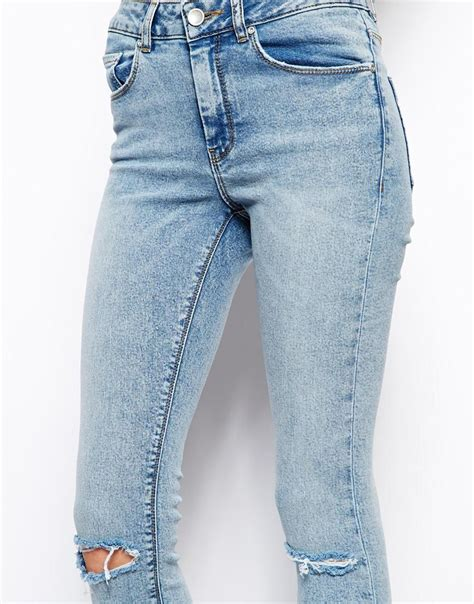 Highwaist Blue Ripped 342 asos ridley high waist ultra ankle grazer in promise light wash blue with ripped