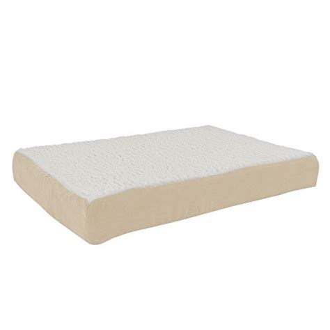orthopedic sherpa top pet bed  memory foam  removable cover xx tan  petmaker