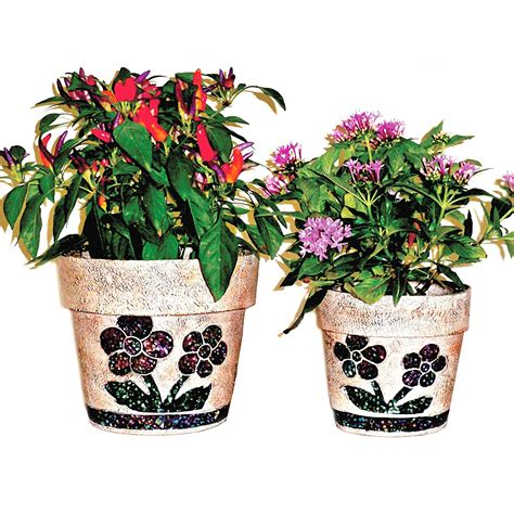 Garden Care Accessories Ltd Cool Stuff Mcpset Mosaic Clay Style Planter Set Of 2
