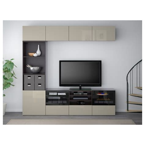 besta glas best 197 tv storage combination glass doors black brown