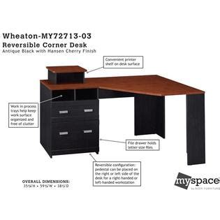 bush furniture wheaton reversible corner desk bush industries myspace wheaton reversible corner desk