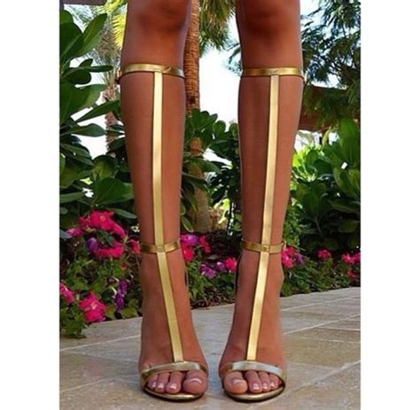 knee high sandals heels shoes heels strappy high knee high gold heels gold