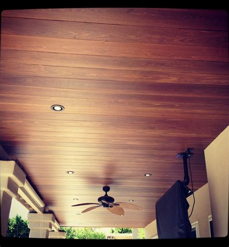 Wood Patio Ceiling by Patio Ceiling With Wood Planking Traditional Patio