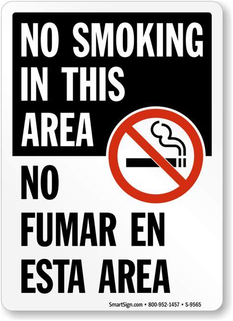 printable area en espanol bilingual safety signs no smoking use bilingual safety