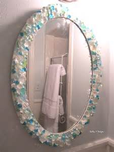 sea glass bathroom ideas mirror in small bathroom is a diy with sea glass crystals and glass gems sally j designs
