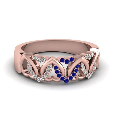 interweaved heart design diamond wedding band   rose