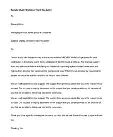 Charity Donation Letter Thank You thank you letter example 9 samples in pdf word
