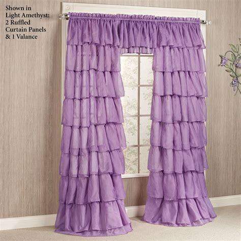 Ruffled Window Curtains Sheer Voile Ruffled Window Treatment