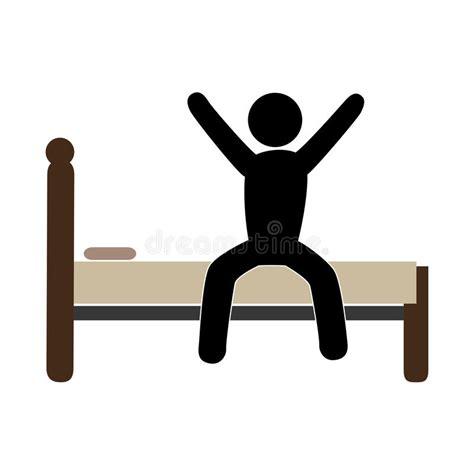 uomo a letto pittogramma di colore con l uomo a letto sveglio