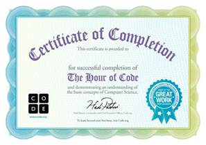certificate for completion of one hour of code code org