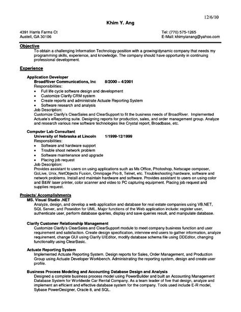 software developer resume sles auto sales executive resume free sles exles