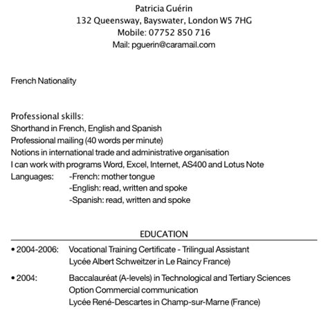Comment Faire Un Cv En Franàçais Exemple by Exemple Cv Anglais References Sle Resume