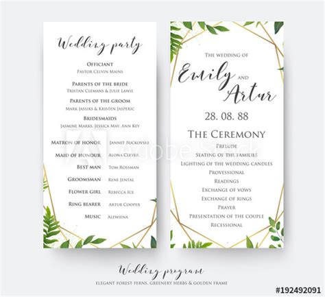program card template wedding program card for ceremony and with modern