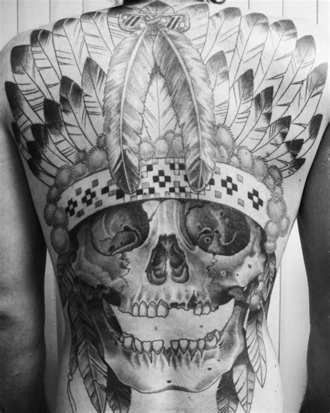 skull in headdress priest aztec on shoulder skull in an indian headdress on whole back
