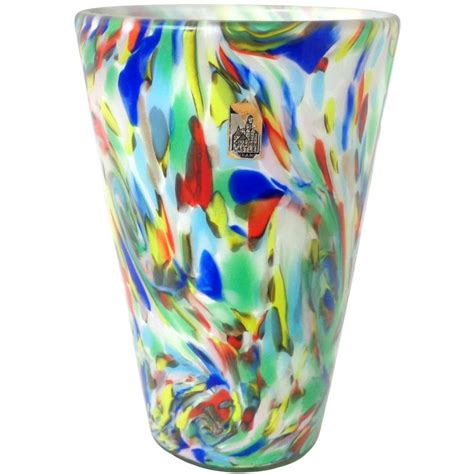 Rainbow Vase by Fratelli Toso Murano Rainbow Color Swirls Italian Glass Flower Vase For Sale At 1stdibs